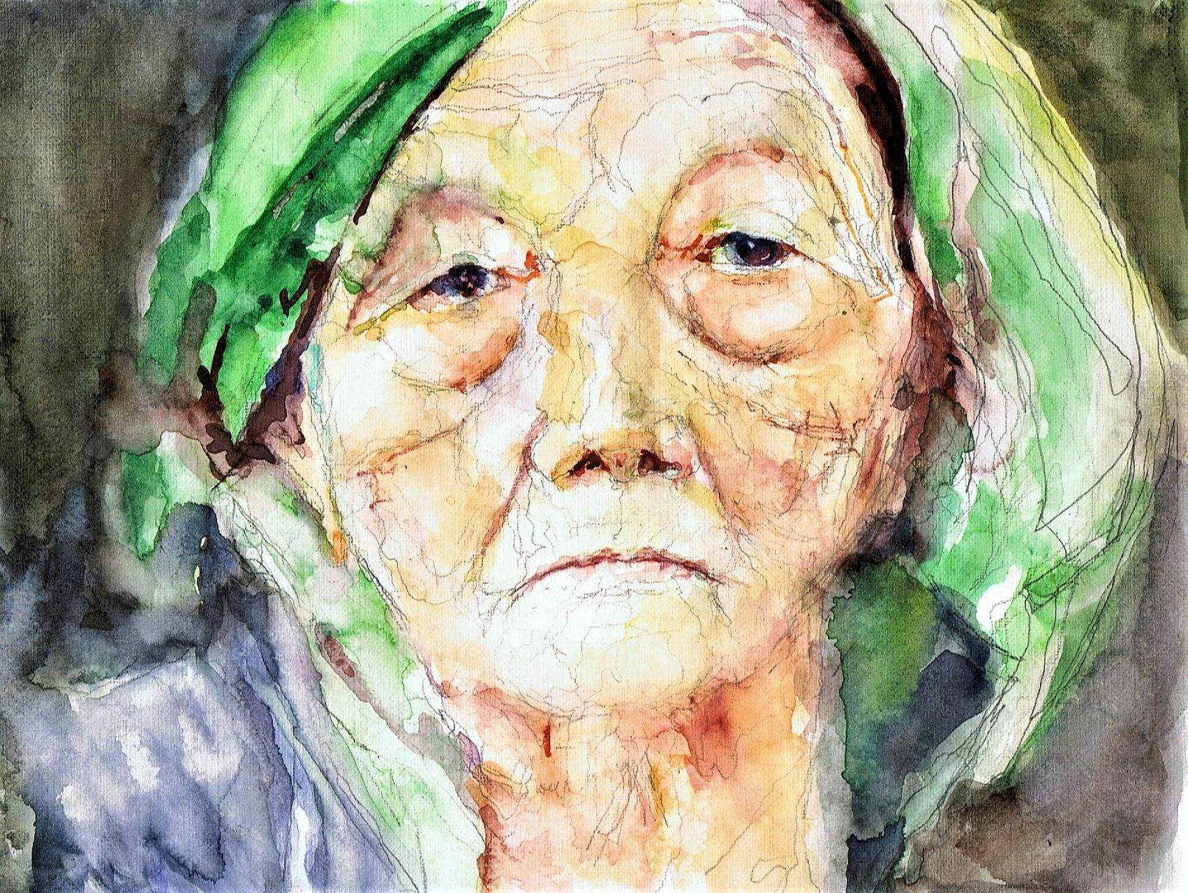 Oude vrouw met hoofddoek 2017 Aquarel 10x35