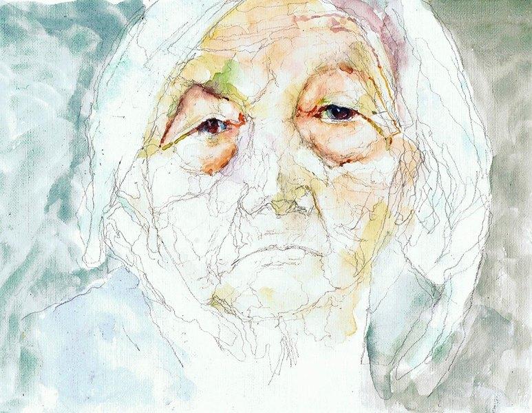 365 dagen een portret 137 Oude vrouw met hoofddoek Awuarel 19c25