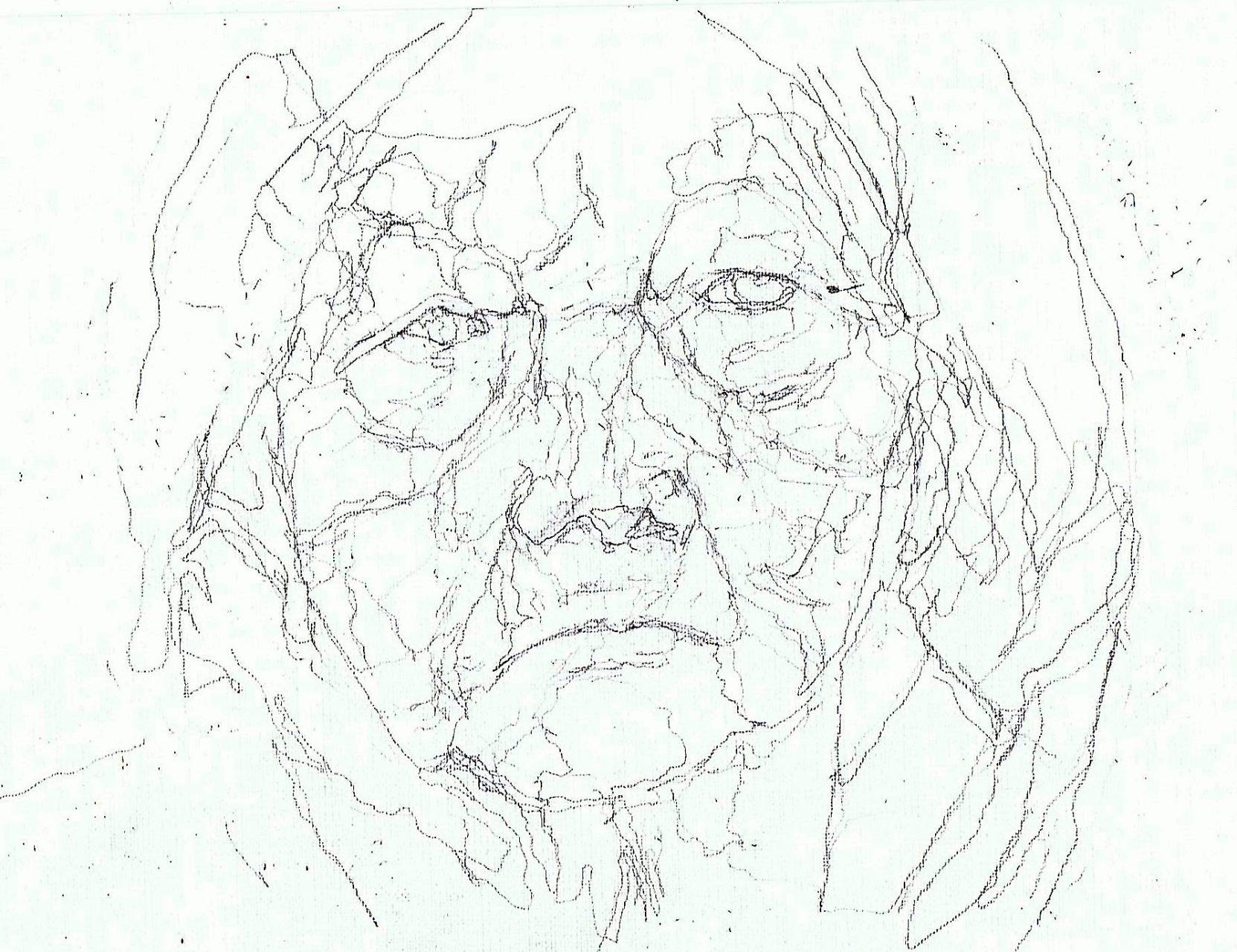 365 dagen een portret 135 Oude vrouw met hoofddoek Potlood 19c25