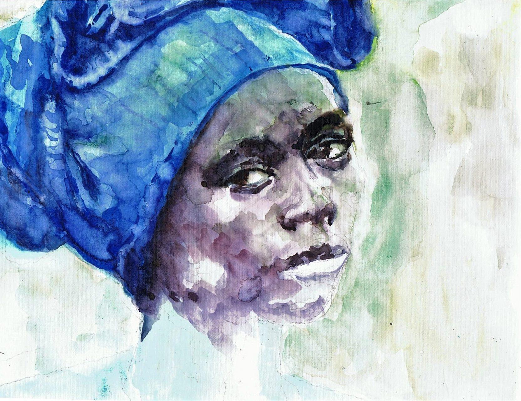 365 dagen een portret 132 Afrikaanse met blauwe trui Aquarel 19c25