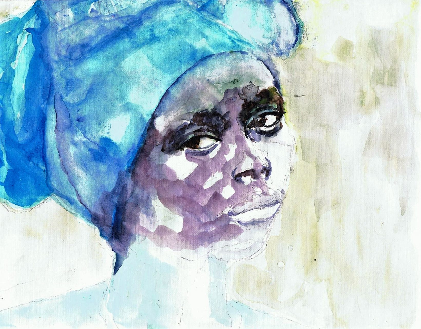 365 dagen een portret 131 Afrikaanse met blauwe trui Aquarel 19c25