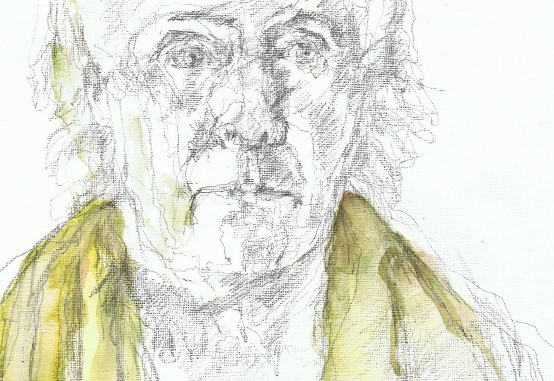 365 dagen een portret 123 Zelf met groene doek Potlood en aquarel 19c25