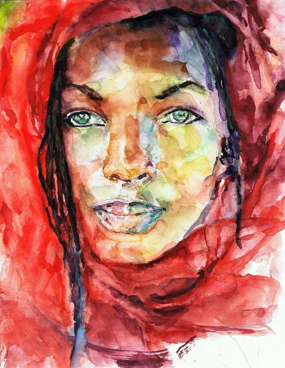 365 dagen een portret 122 Afrikaanse vrouw met vlechten Aquarel 19c25