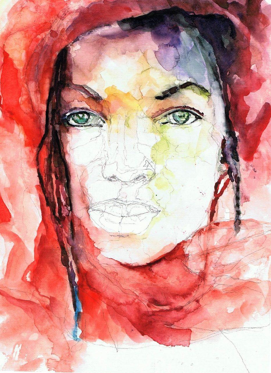 365 dagen een portret 121 Afro-Amerikaanse met vlechten Aquarel 19c25