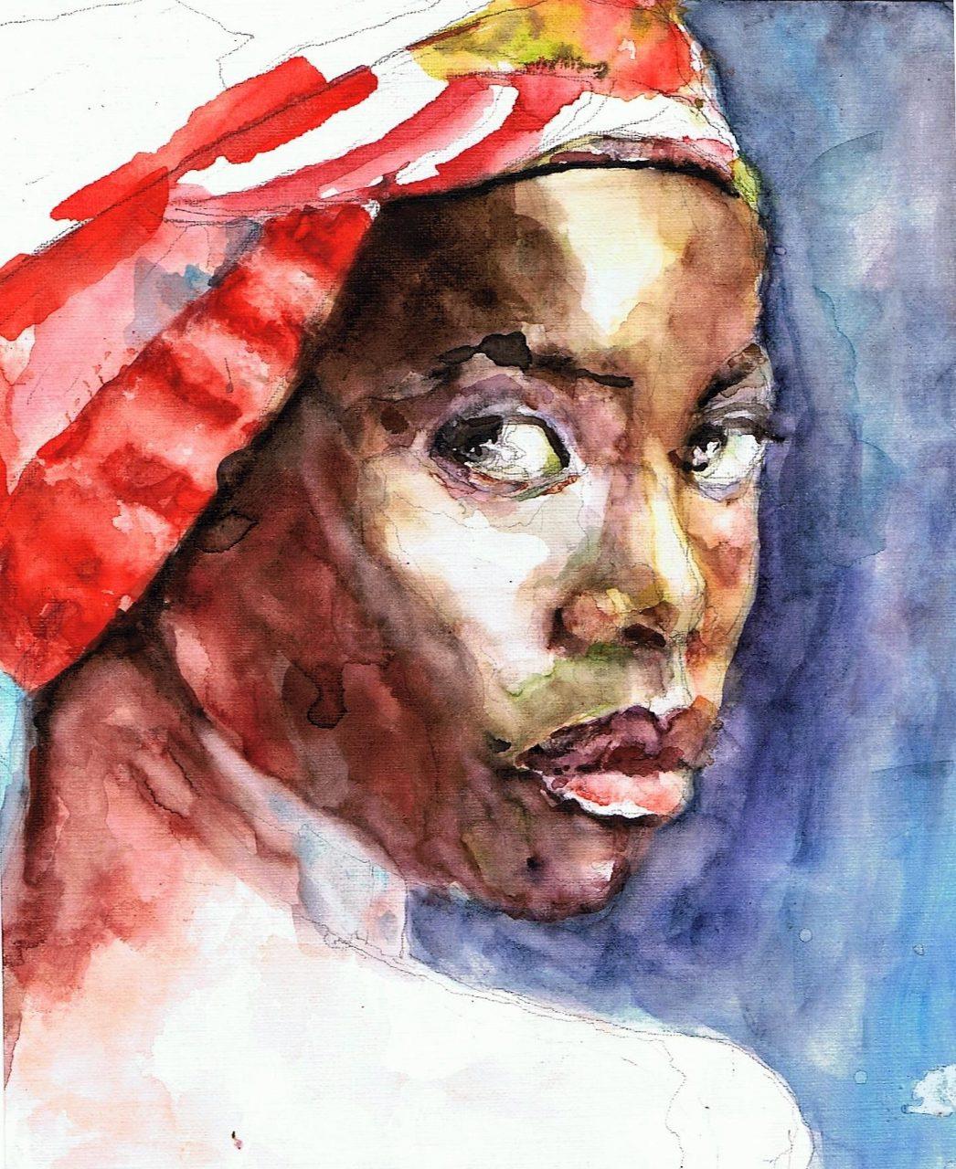 365 dagen een portret 109 Afro-Amerikaanse met rode doek Aquarel 19c25