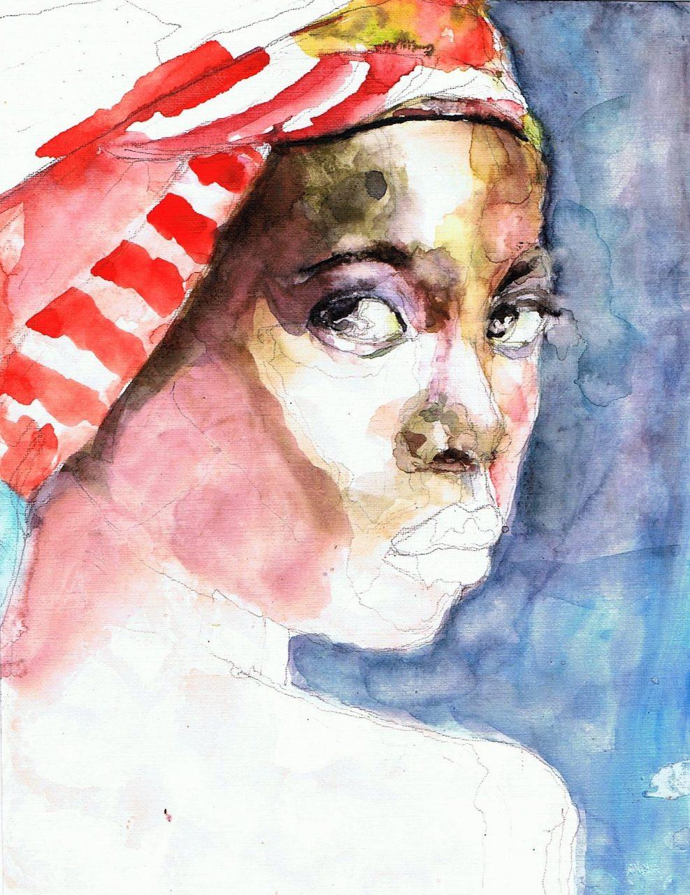 365 dagen een portret 107 Afro-Amerikaanse met rode doek Aquarel 19c25