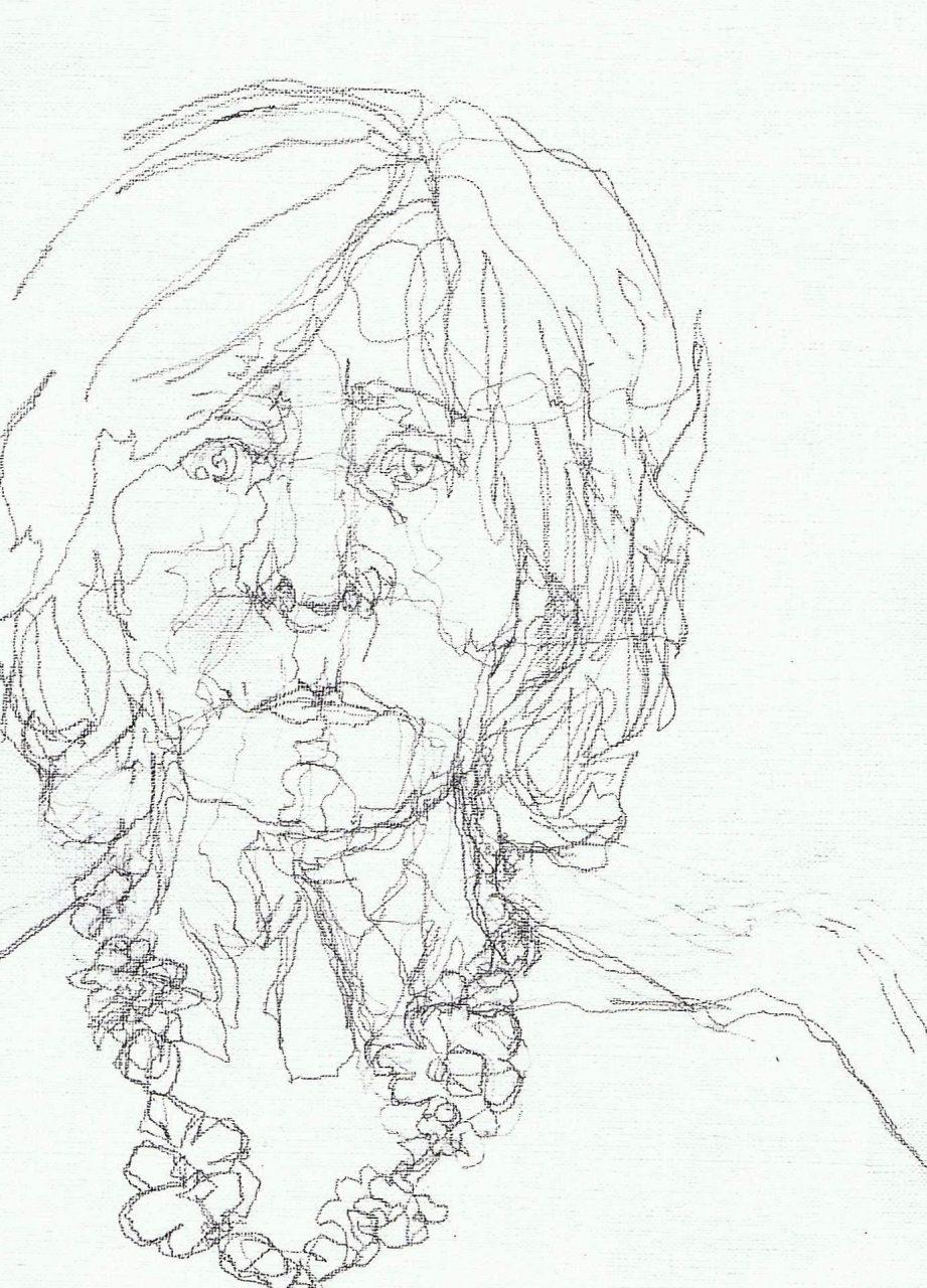 365 dagen een portret Zelf met bloemenketting Potlood 19c25