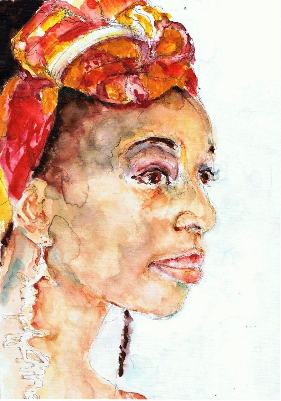 365 dagen een portret 103 Afrikaanse vrouw met oorbel Aquarel 19c25
