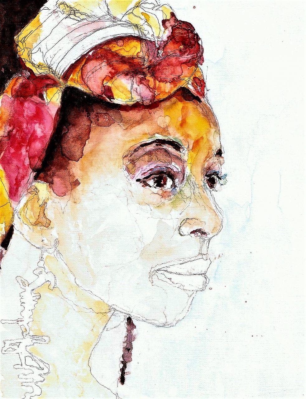 365 dagen een portret 102 Afrikaanse vrouw met oorbel Aquarel 19c25