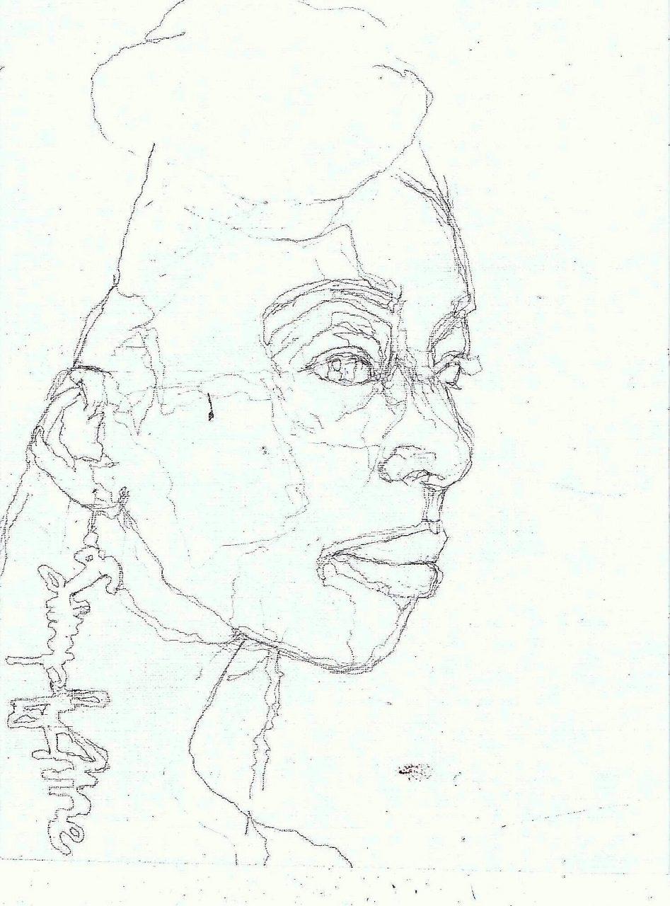 365 dagen een portret 100 Afrikaanse vrouw met oorbel Potlood 19c25
