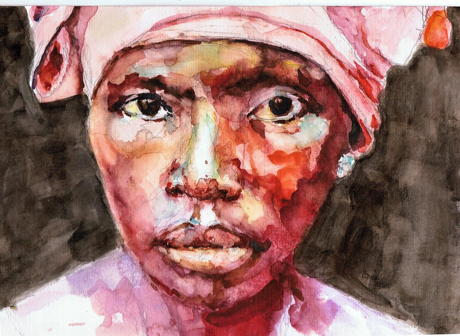 365 dagen een portret 99 Afrikaanse vrouw met roze doek Aquarel 19c25
