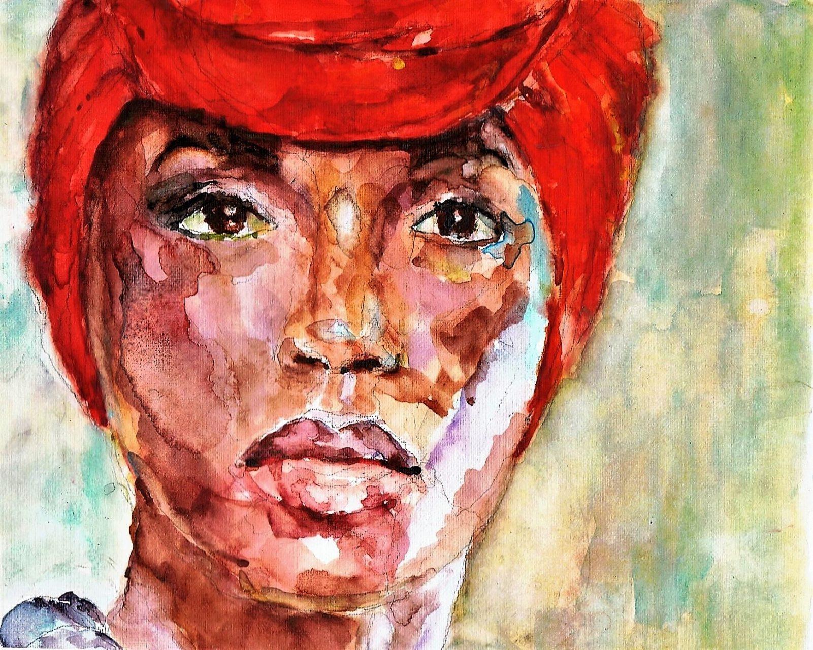 Afro-Amerikaanse vrouw Aquarel 19x35