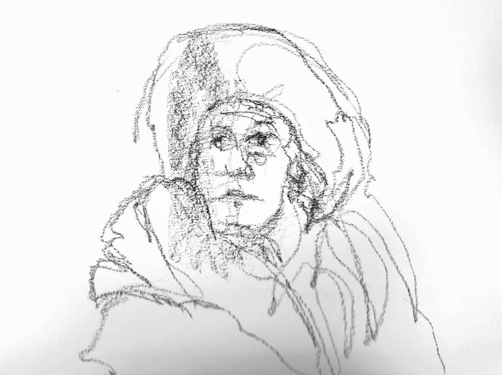 365 dagen een portret Sita, model Siberisch krijt, snelle schets 19c25