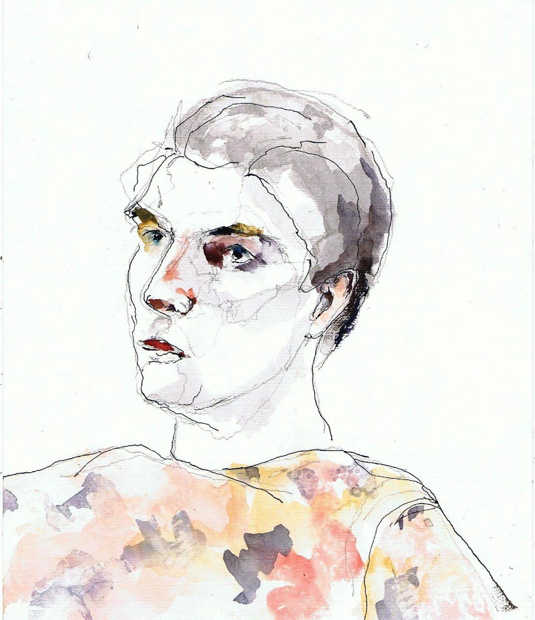 365 dagen een portret 95 Arnoud, model Aquarel en inkt 19c25