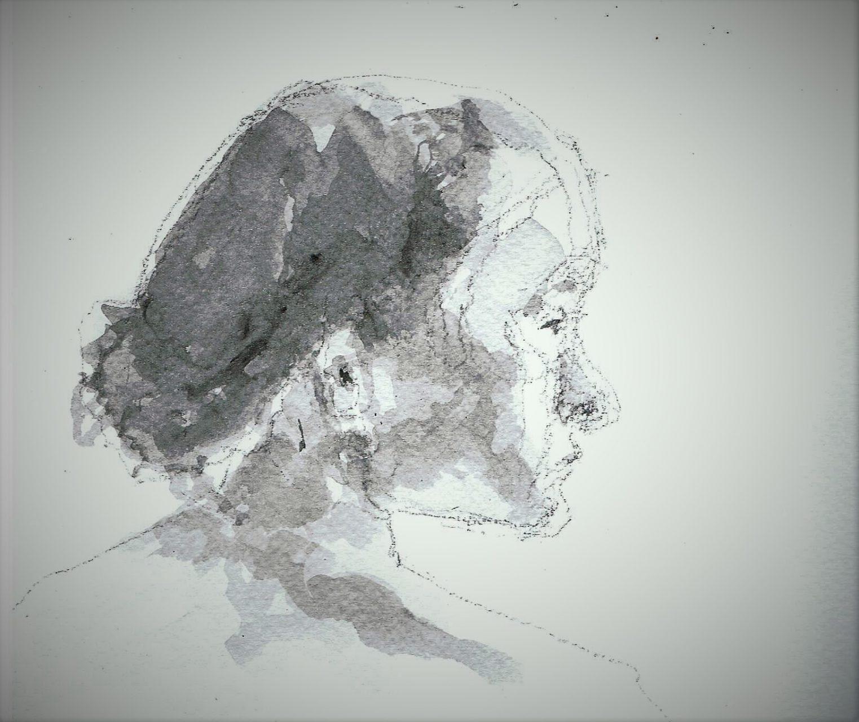 365 dagen een portret 91 Griekse , model Potlood en gewassen inkt 19c25