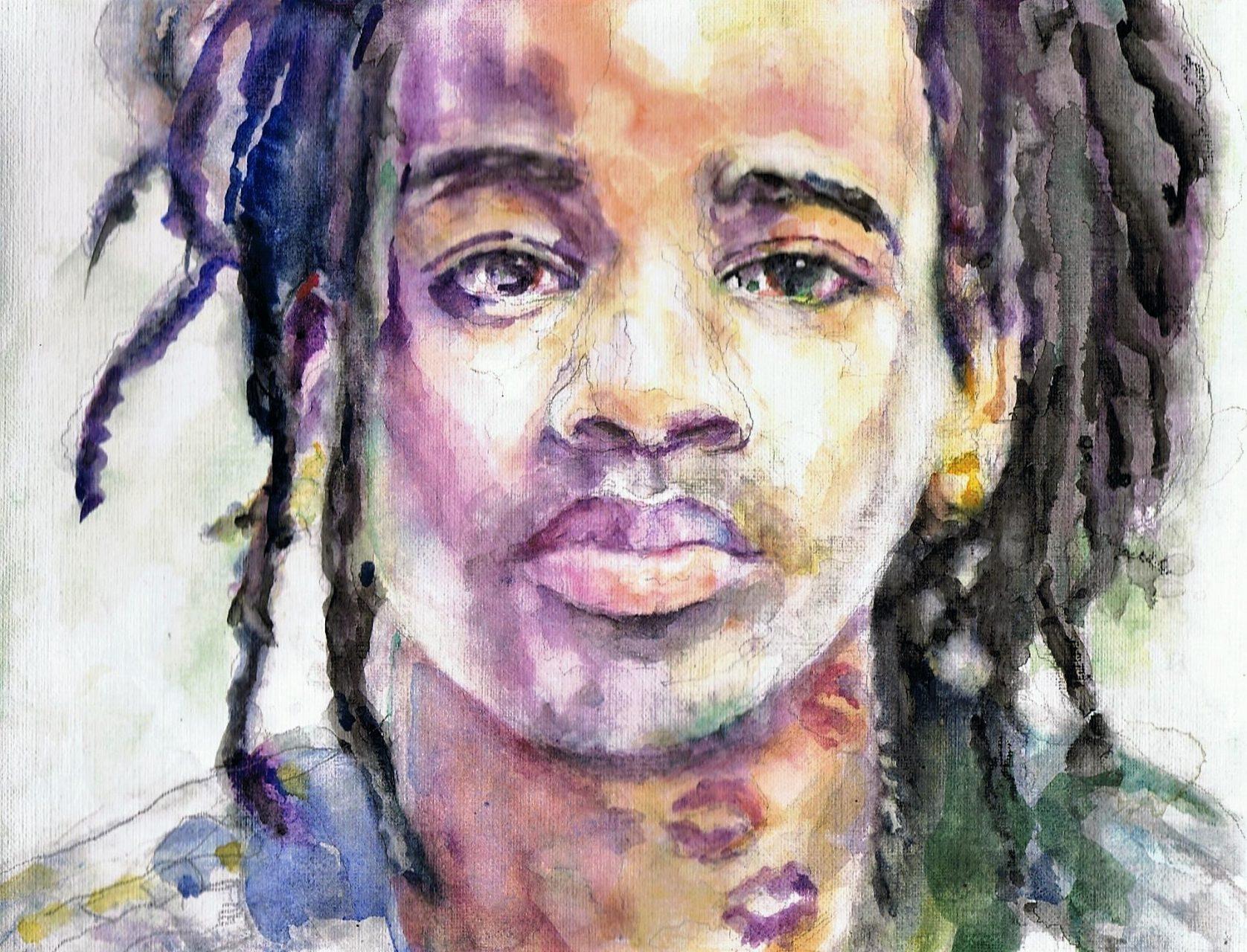 365 dagen een portret Keizer, rapper Aquarel + Stabilo stift 19c25