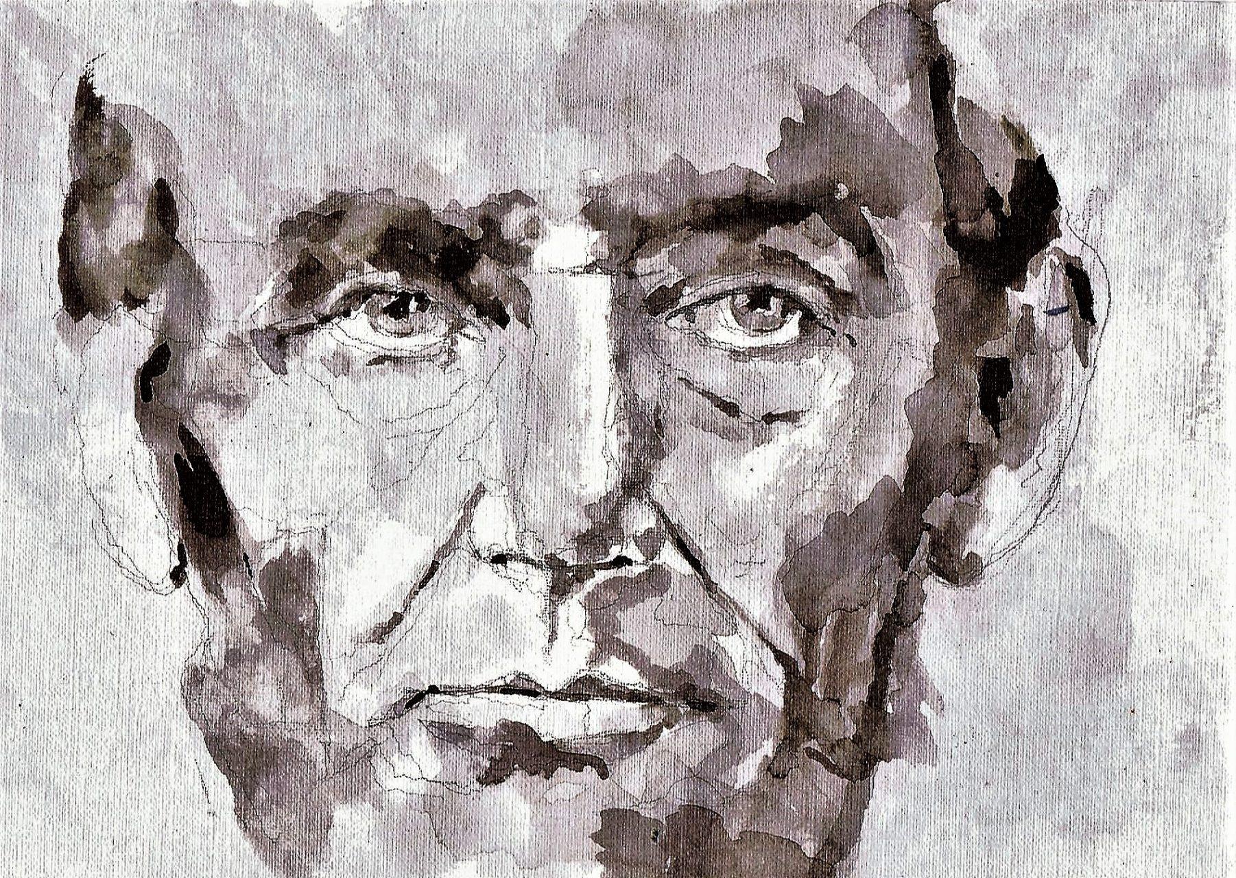 365 dagen een portret 84 Abraham Lincoln, 16e president VS Gewassen inkt 19c25