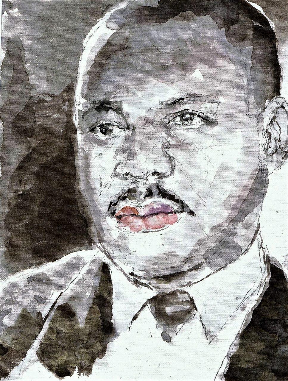365 dagen een portret 82 Maarten Luther King , politicus Inkt en aquarel 19c25