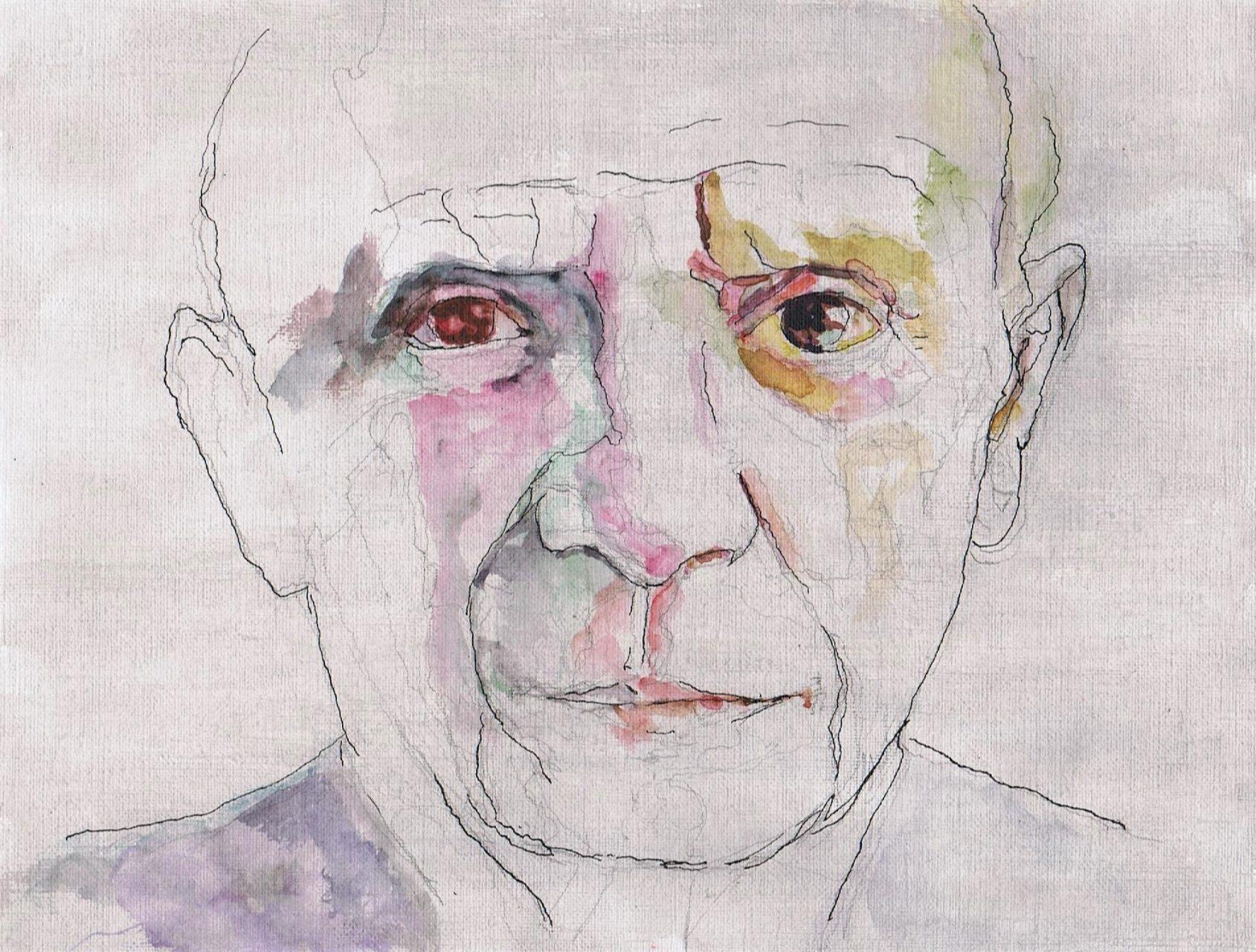 365 dagen een portret 76 Picasso, kunstenaar Inkt en aquarel 19c25