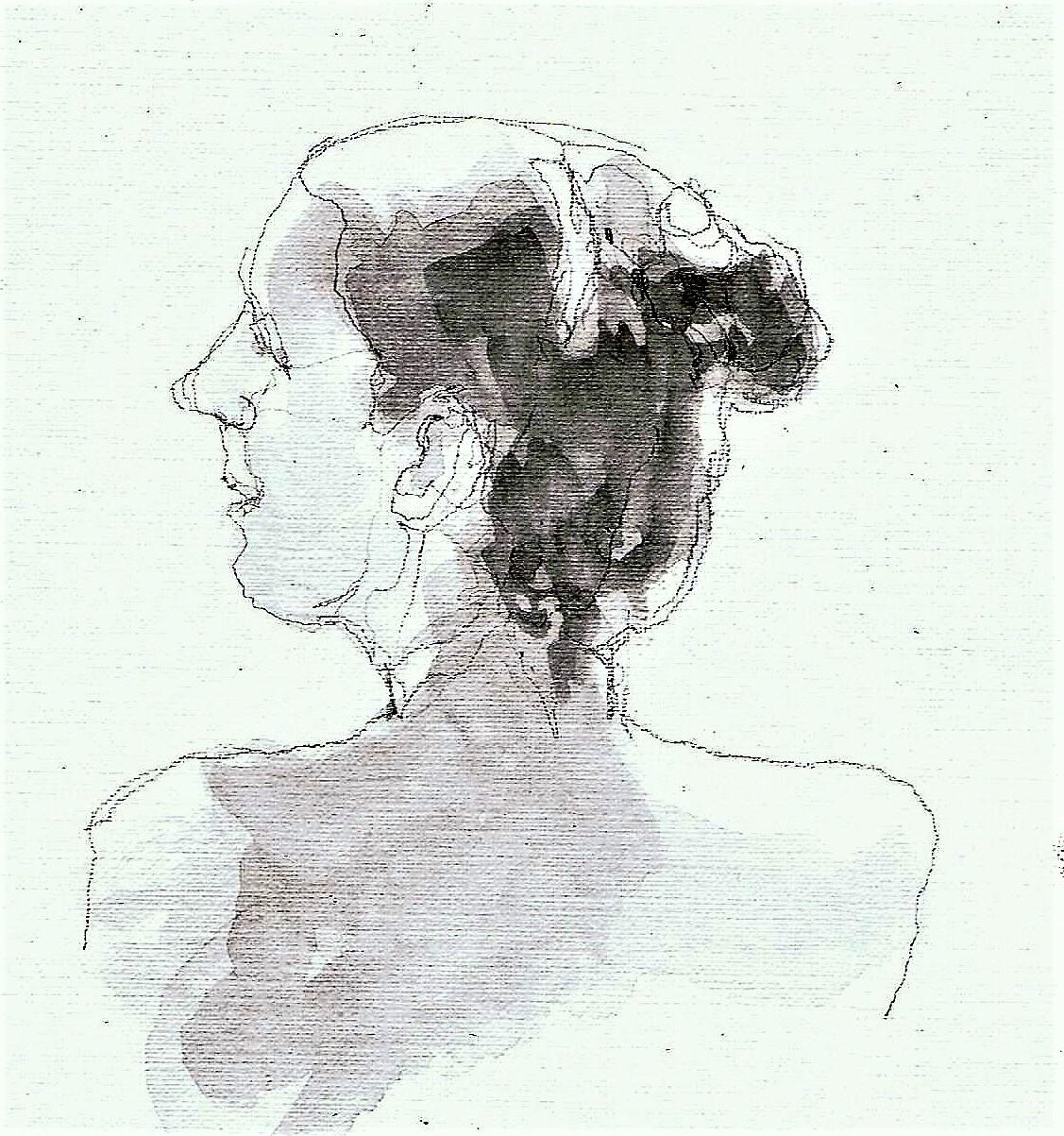 365 dagen een portret 71 Dina, model Potlood en gewassen inkt 19c25