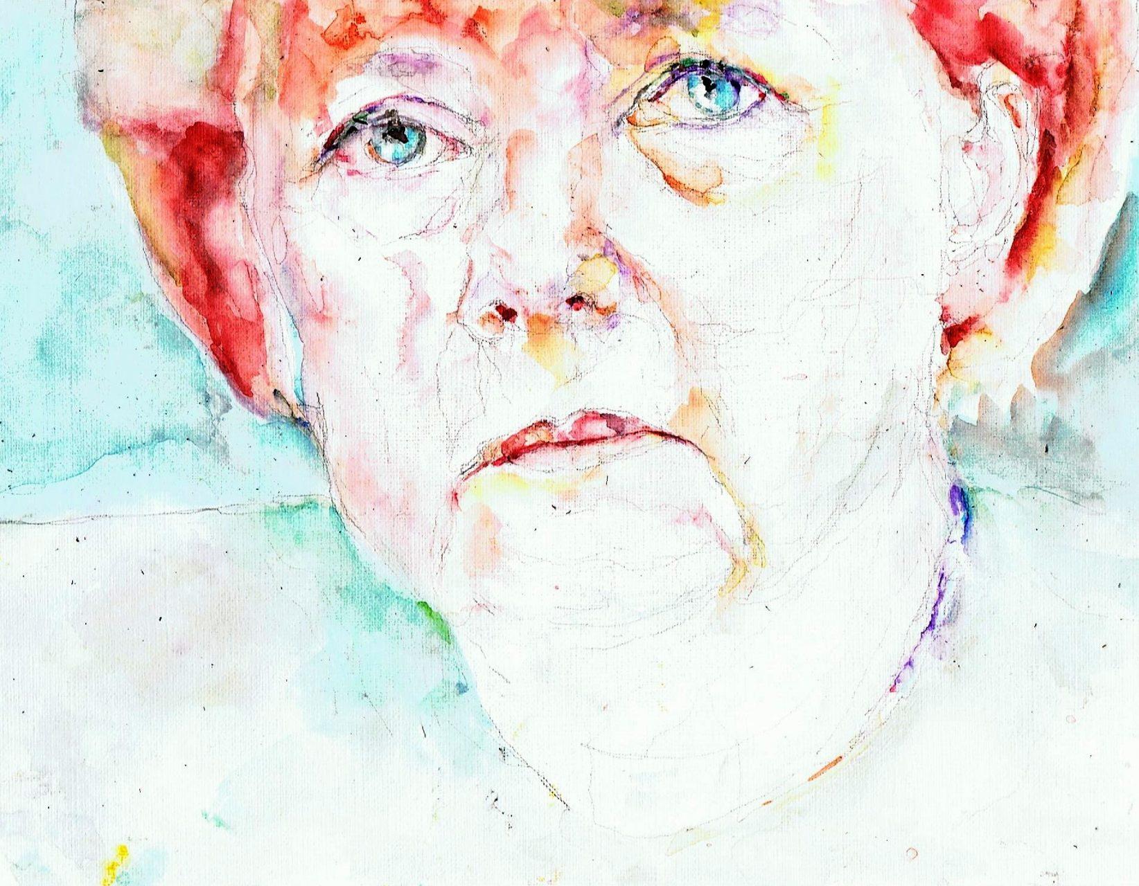 365 dagen een portret 69 Angela Merkel, premier Duitsland Aquarel 19c25