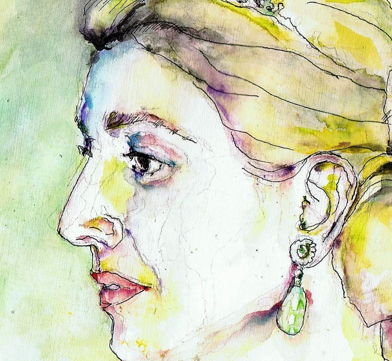 365 dagen een portret 66 Maxima, koningin Inkt en aquarel 19c25