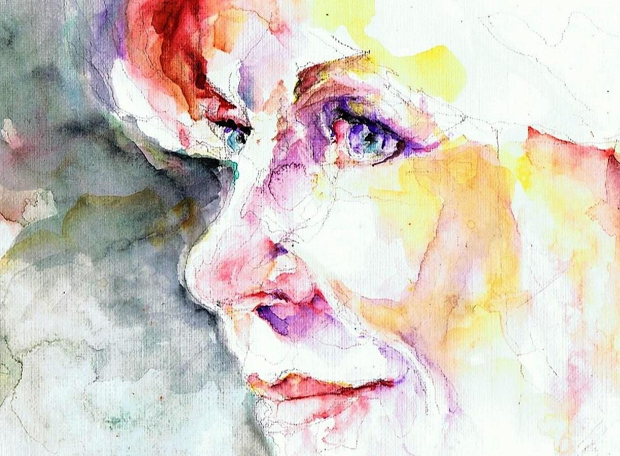 365 dagen een portret 61 Jane Fonda, actrice Aquarel 19c25