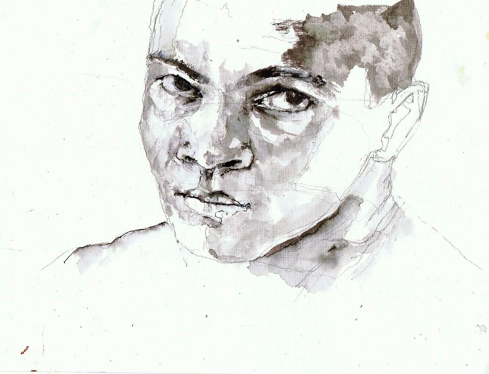 365 dagen een portret 57 Mohammed Ali, wereldkampioen(3) boksen Inkt 19c25
