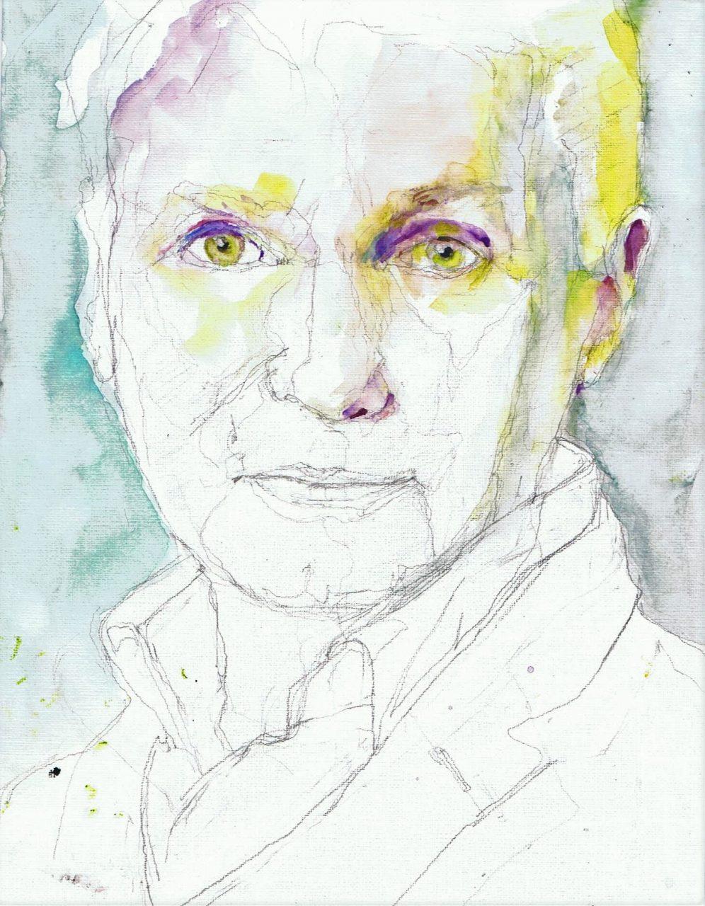 365 dagen een portret 55 Adriaan van Dis, schrijver Aquarel 19c25