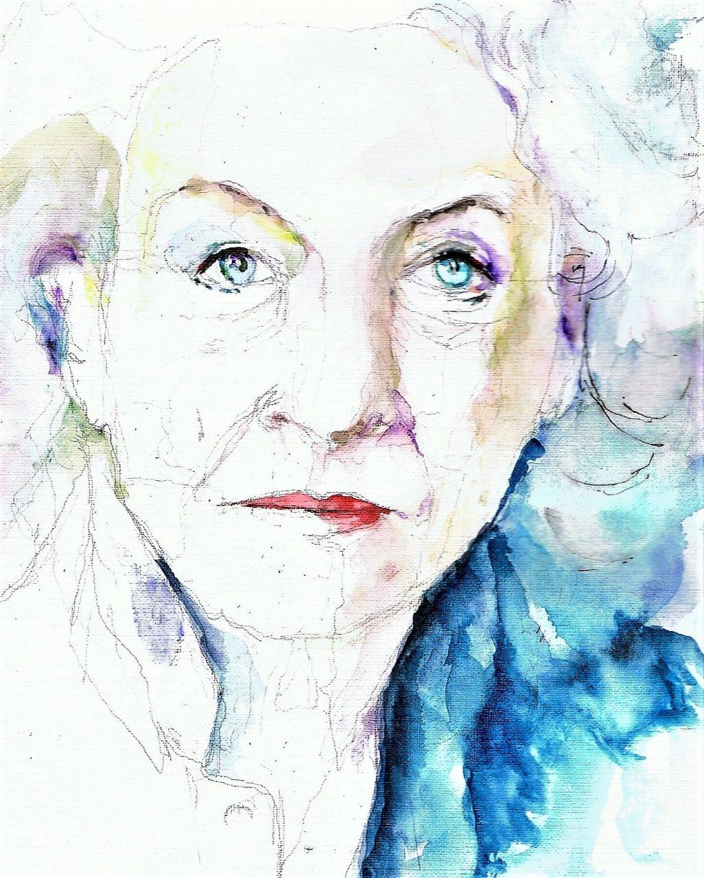 365 dagen een portret 50 Nelleke Noordervliet, schrijfster Aquarel 19c25