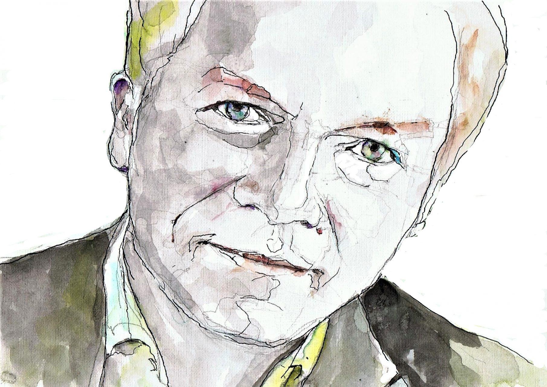 365 dagen een portret 48 Wouter Bos, factievoorzitter PvdD Aquarel 19c25