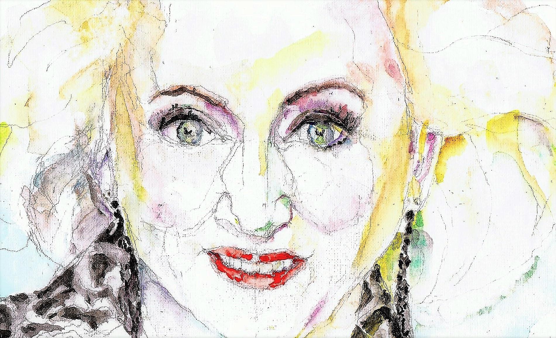 365 dagen een portret 39 Karin Bloemen, cabaretière Aquarel 19c25