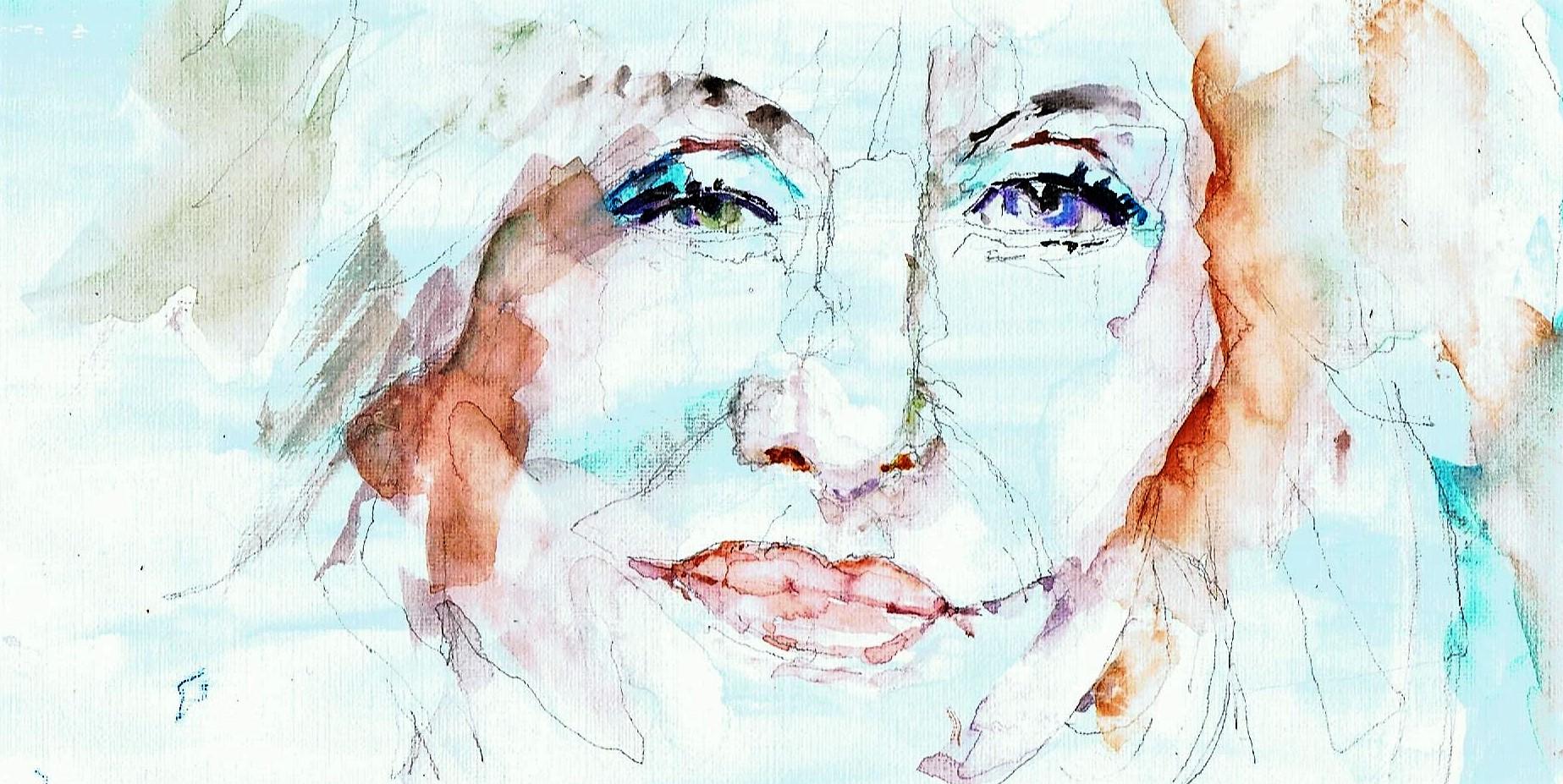 365 dagen een portret 35 Dolly Parton, zangeres Aquarel 19c25
