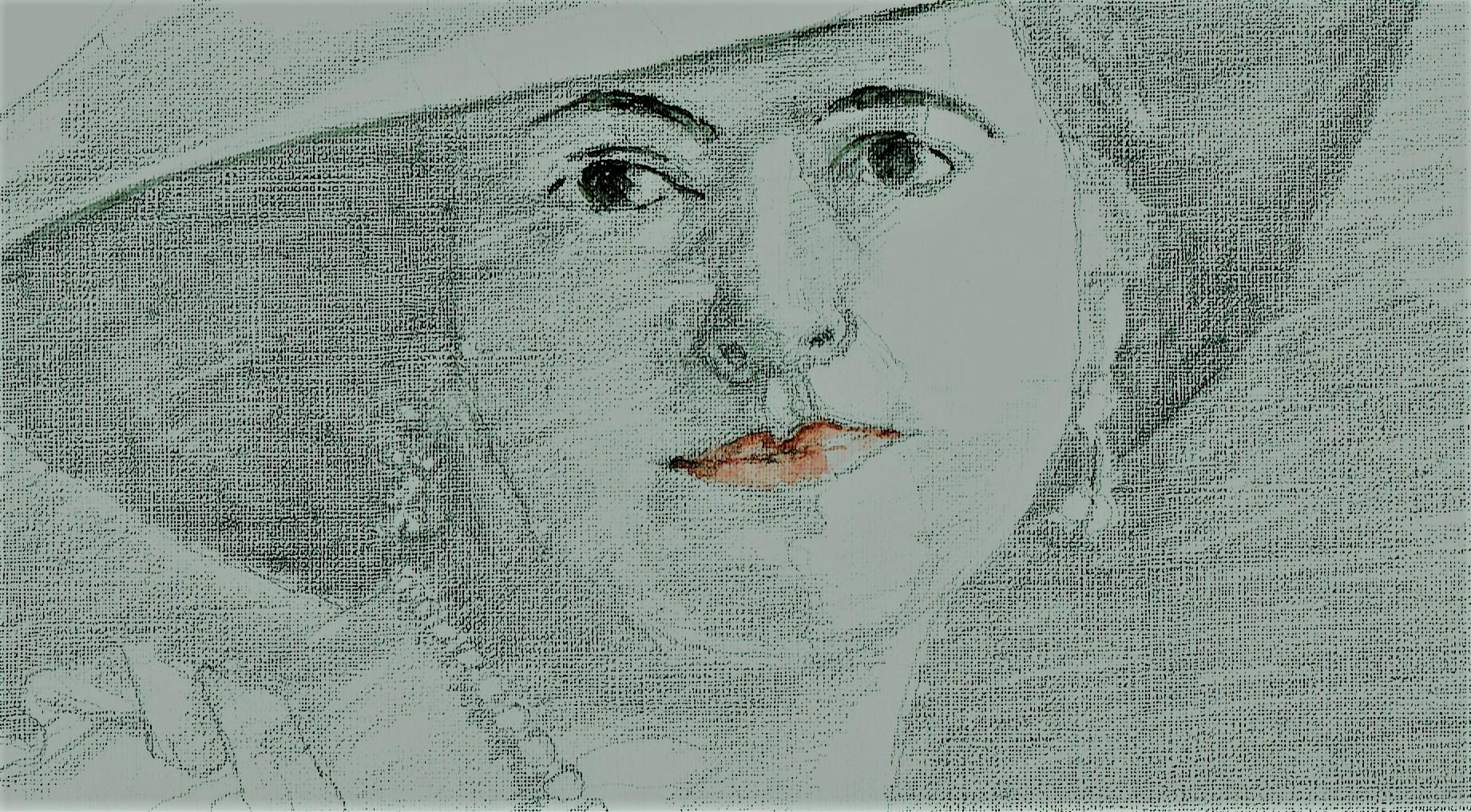 365 dagen een portret 17 Mata Hari Potlood en aquarel 19c25