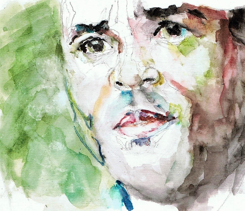 365 dagen een portret 17 Patrick Kluivert, voetballer Aquarel 19c25