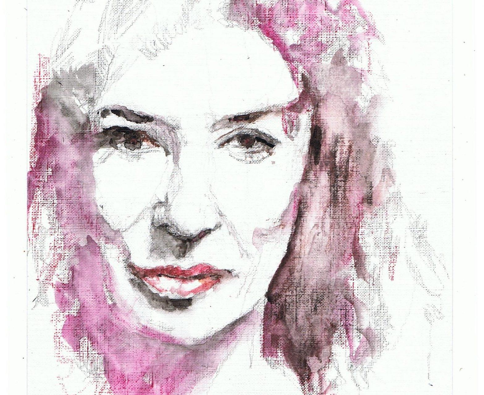 365 dagen een portret, dag 5 Katja Schuurman, actrice (2018) Aquarel op papier