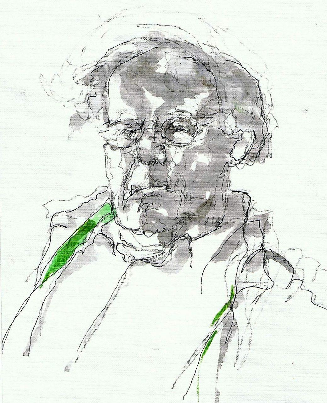365 dagen een portret Geert Nijhof, model Aquarel + inkt 19c25