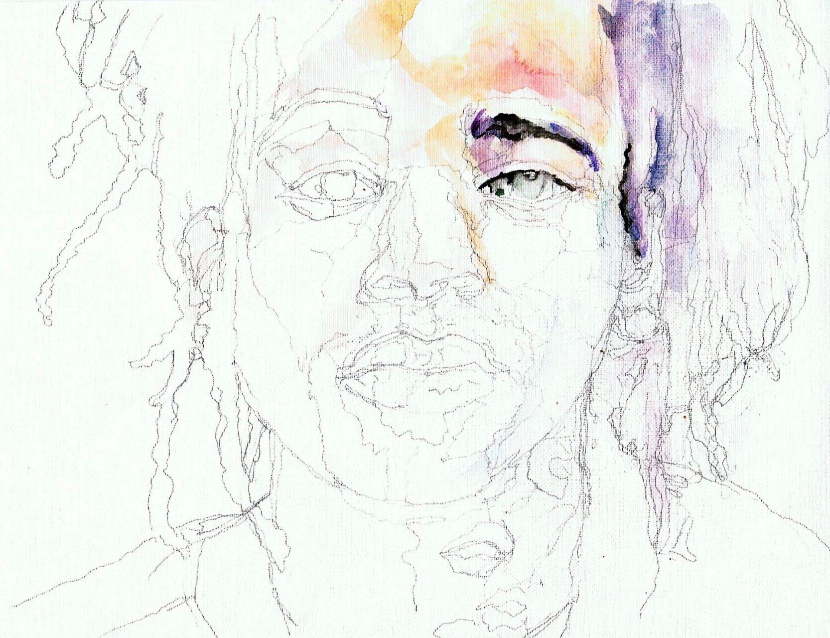 365 dagen een portret Keizer, rapper Aquarel 19c25