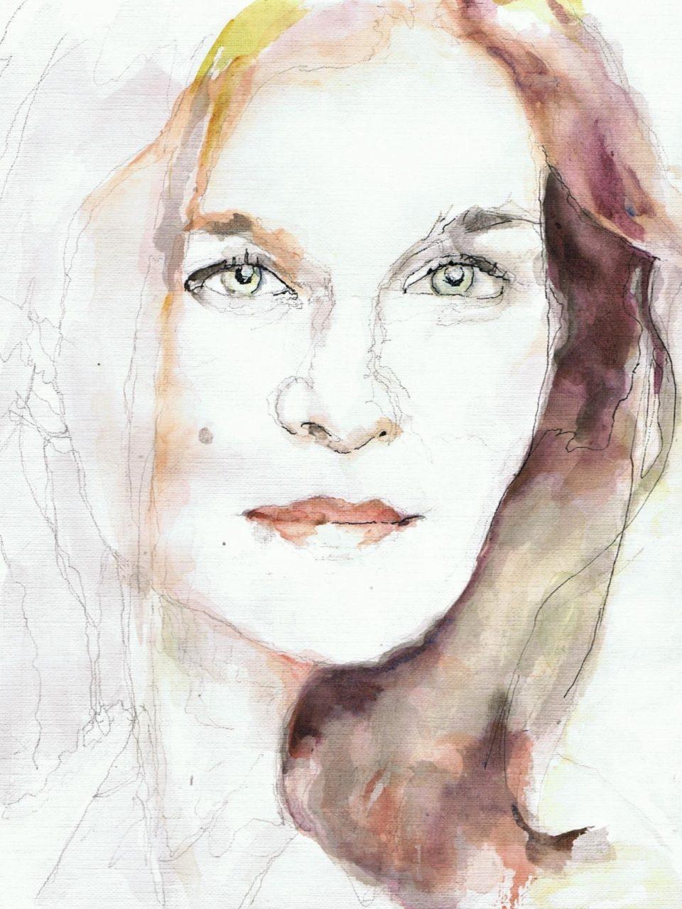 365 dagen een portret Janine Jansen, violiste Aquarel 19c25