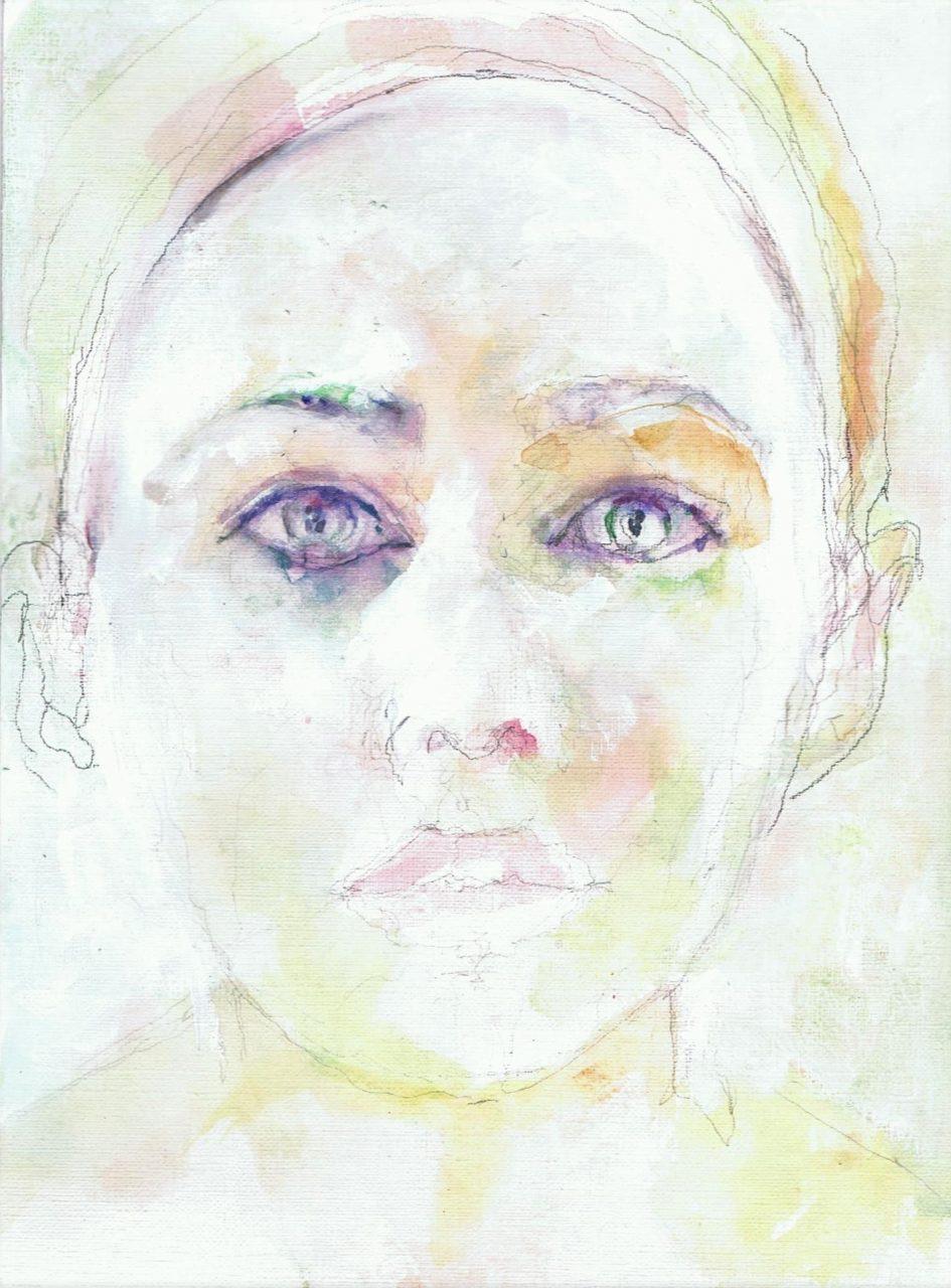 365 dagen een portret Halina Reijn, actrice Aquarel + witte gouache 19c25