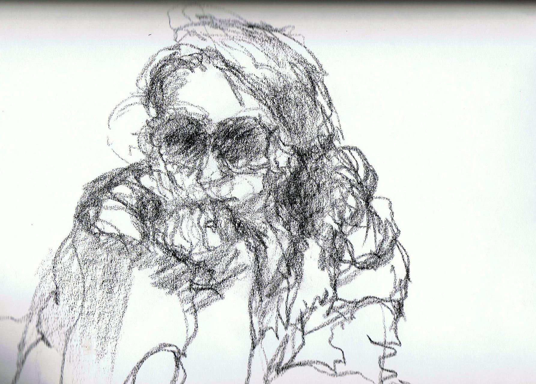 365 dagen een portret Linde, model ( snelle schets) Siberisch krijt 19c25