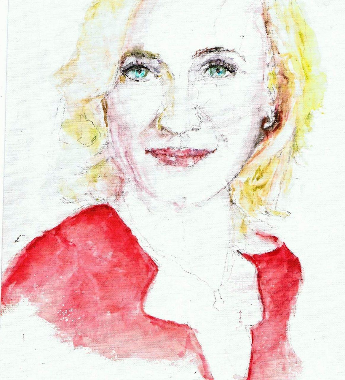 365 dagen een portret 8 Eva Jinek, presentatrice Aquarel 19c25