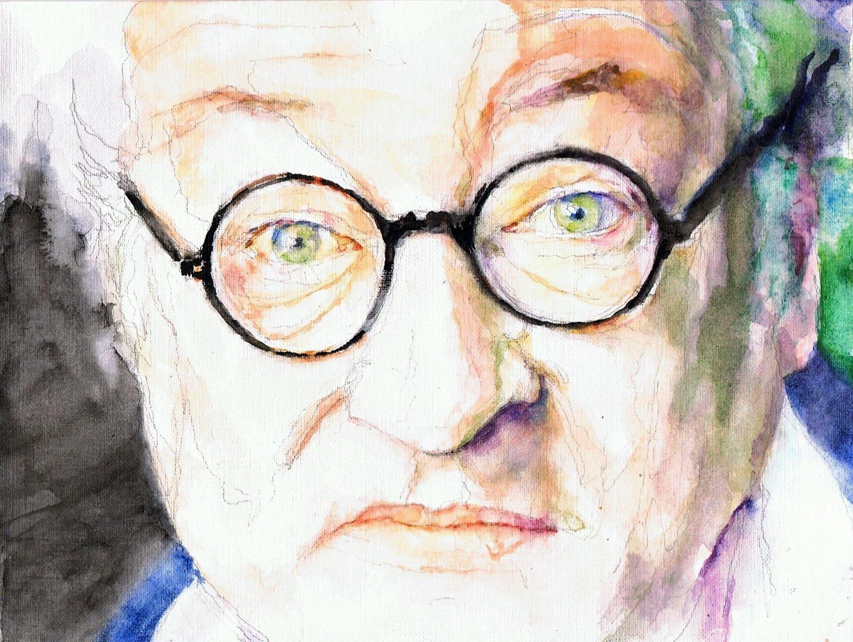 365 dagen een portret Youp van 't Hek, cabaretier Aquarel 19c25