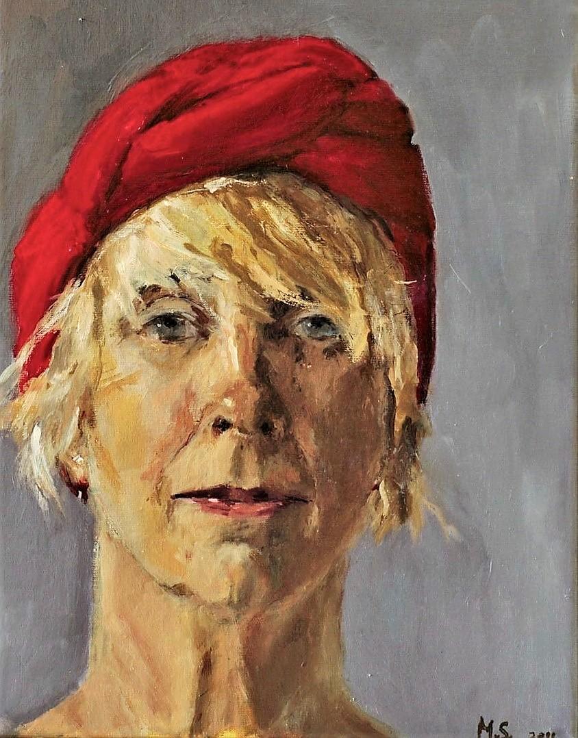 365 dagen een portret Zelf met rode muts, olieverf 19c25
