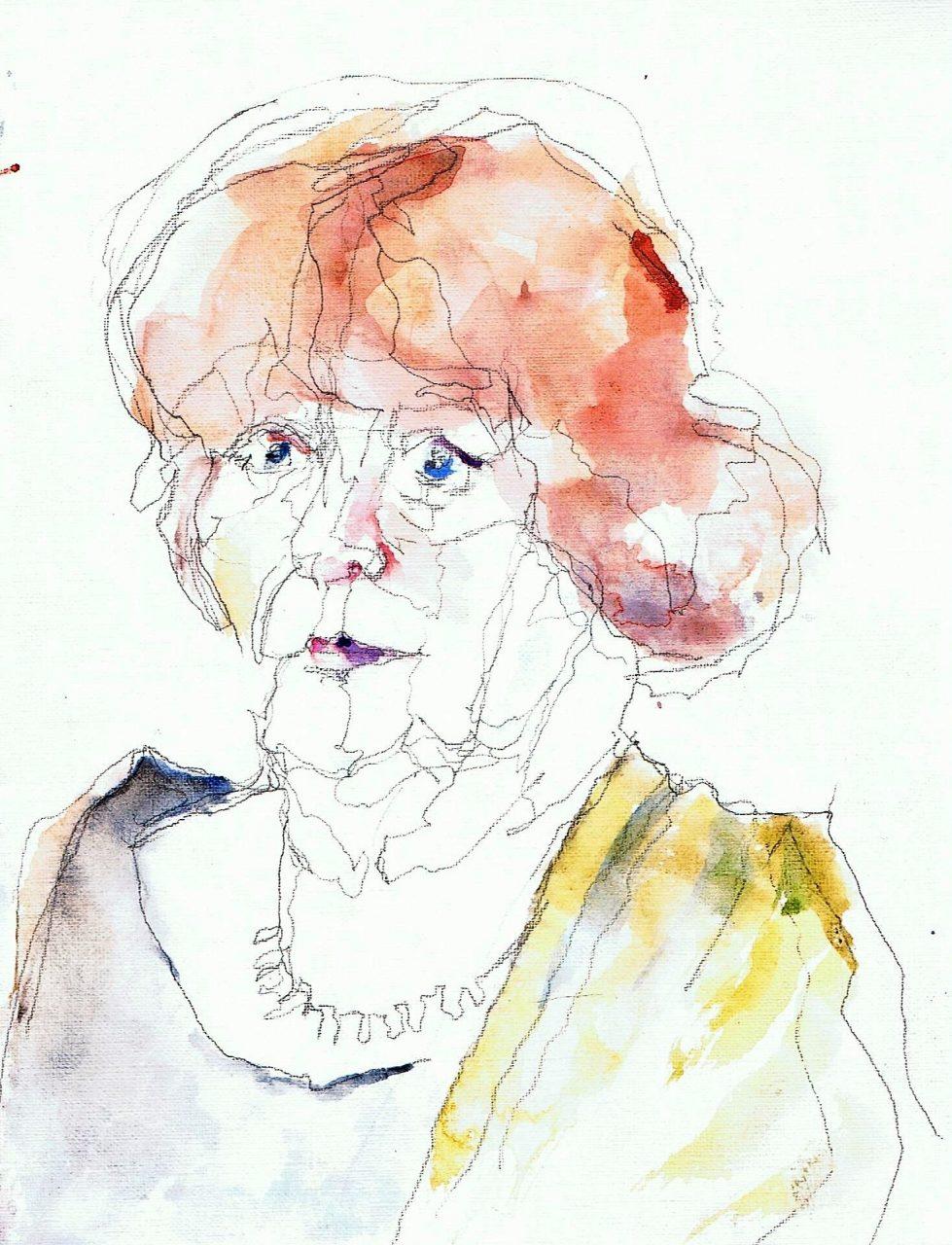 365 dagen een portret Ria, model ( beeldhouwster) Aquarel 19c25