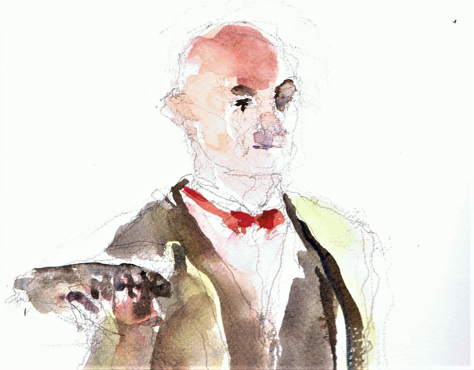 365 dagen een portret De Butler, mimespeler Aquarel 19c25