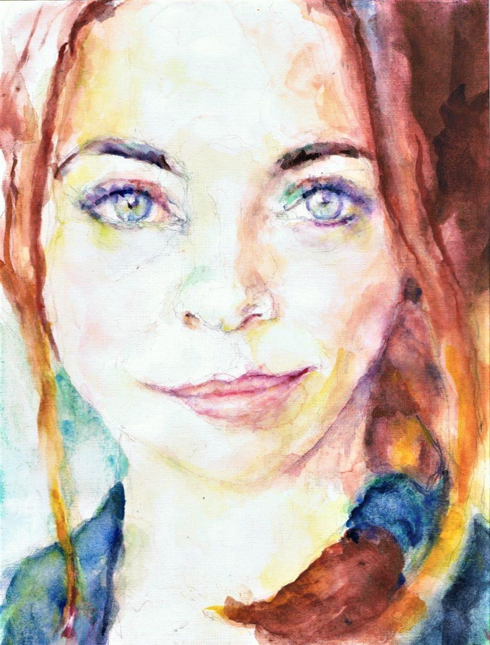 365 dagen een portret Georgina Verbaan, actrice Aquarel 19c25