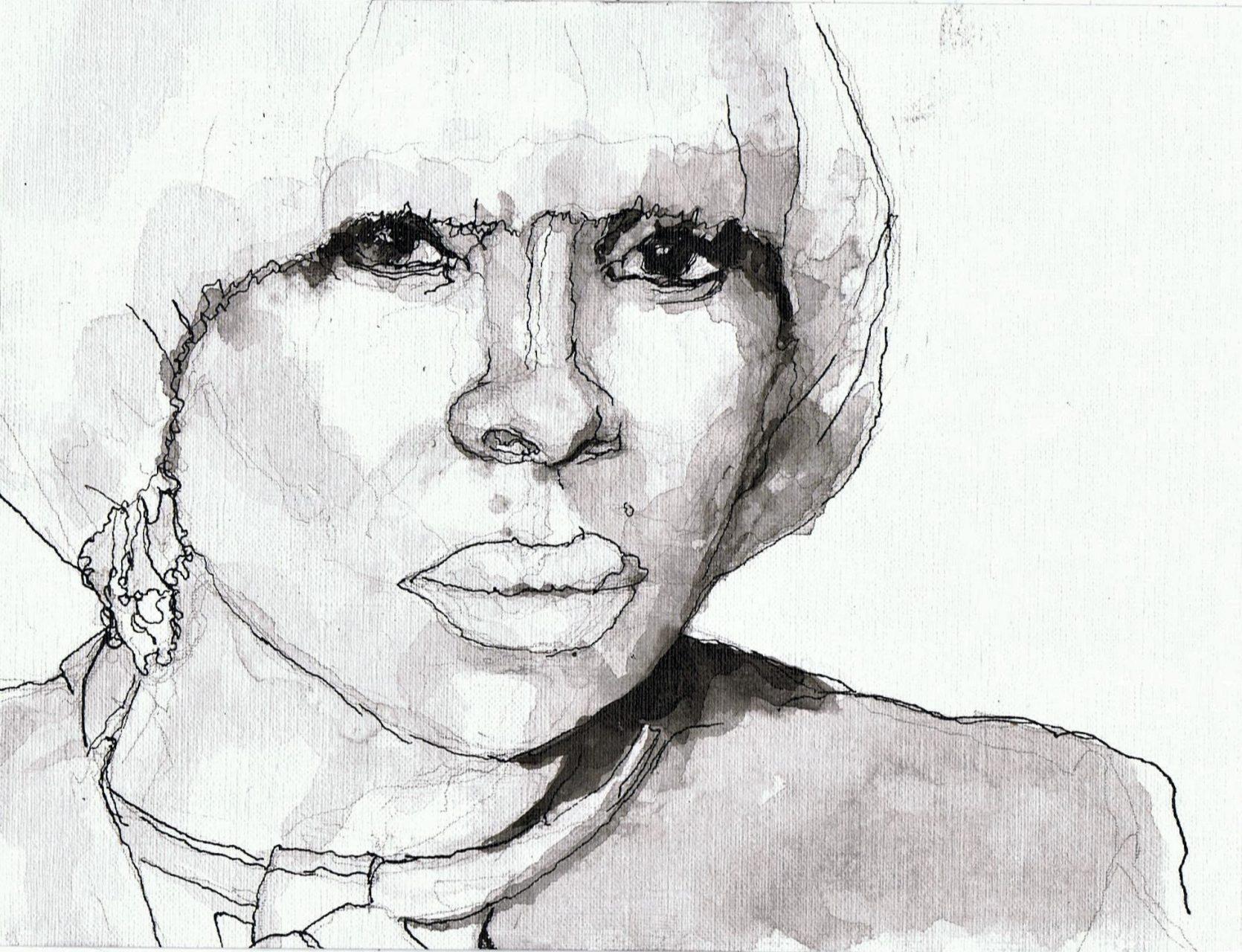 365 dagen een portret Mary J. Blige, singer-songwriter Inkt gewassen 19c25