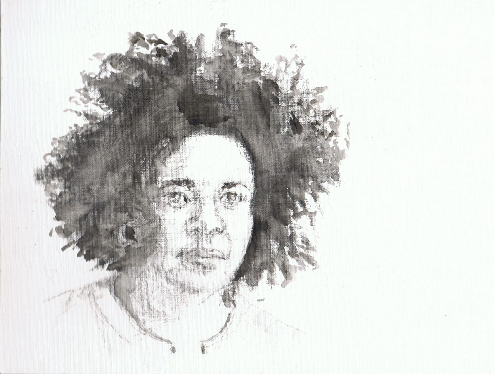 365 dagen een portret , dag 3 Tania Koss, operazangeres Aquarel op papier